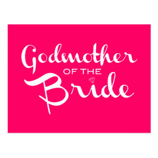Godmother of Bride White on Hot Pink Postcard