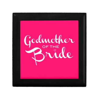 Godmother of Bride White on Hot Pink Trinket Box