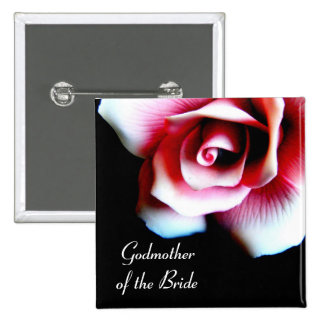 Godmother of the Bride Pink Rose I.D. Button