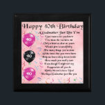 "Godmother poem - 40th Birthday Design Gift Box<br><div class=""desc"">A great gift for a godmother on her 40th birthday</div>"