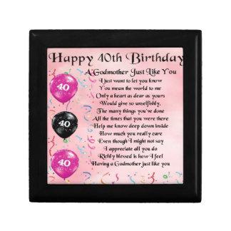 Godmother poem - 40th Birthday Design Gift Box