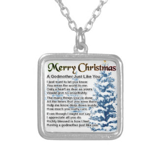 Godmother poem - christmas design silver plated necklace