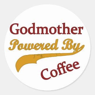 Godmother Powered By Coffee Classic Round Sticker