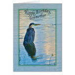 Godmother's Birthday Card with Great Blue Heron