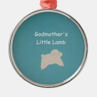 Godmother's Little Lamb Metal Ornament