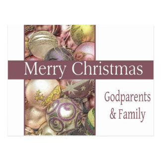 godparents and family  Merry Christmas card Postcard
