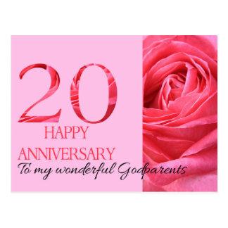 Godparents Anniversary Card Pink Rose Postcard