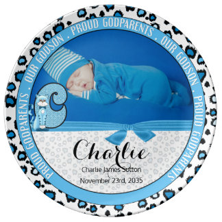 "Godparents Letter ""C"" Blue Baby Photo Plate"