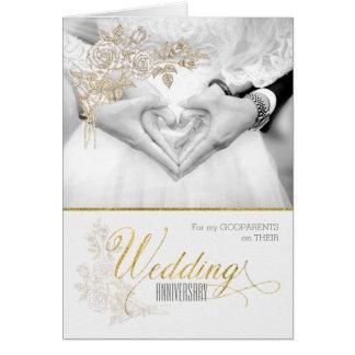 Godparents Wedding Anniversary Faux Gold Leaf Card