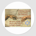 God's and Man...lend a hand for Israel Classic Round Sticker