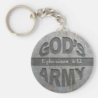 God's Army - Ephesians 6:12 Bible Verse Metal Gray Keychain