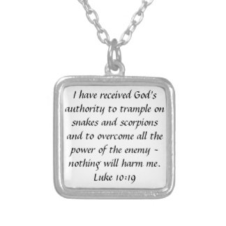 God's authority bible verse Luke 10:19 necklace