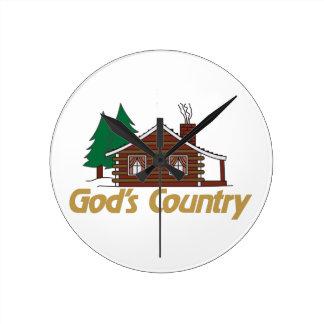 Gods Country Round Wallclock