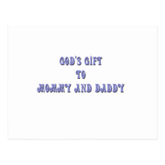 Gods Gift to Mommy and Daddy Blue Postcard