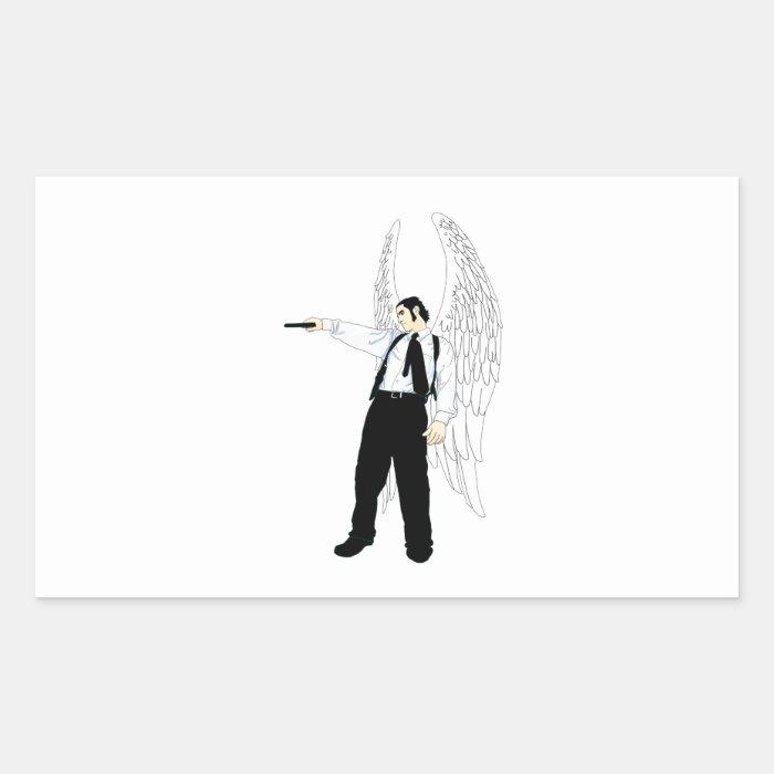 God's Hitman Angel With a Pistol Rectangular Sticker