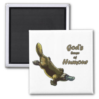 God's joke 2 inch square magnet