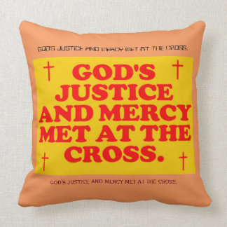 God's Justice And Mercy Met At The Cross. Throw Pillows