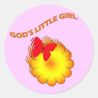 Gods Little Girl Classic Round Sticker