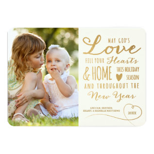 God's Love Gold Type Holiday Photo Card at Zazzle