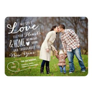 "God's Love Holiday Photo Card / Black Back 5"" X 7"" Invitation Card"