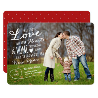 God's Love Holiday Photo Card / Red Back at Zazzle