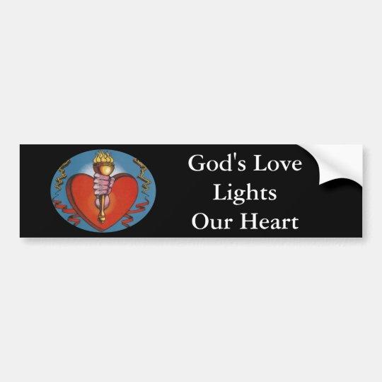 God's Love Lights Our Heart Bumper Sticker
