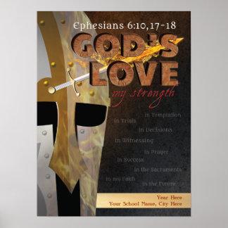 Gods Love My Strength Armor of God Poster