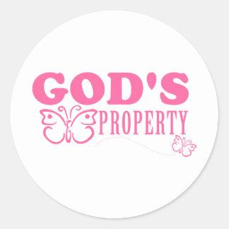 God's Property Butterflies Classic Round Sticker