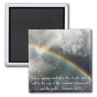 God's rainbow bible verse Genesis 9:13 2 Inch Square Magnet
