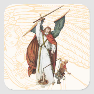 God's Warrior Angle Battle of Good and Evil Square Sticker