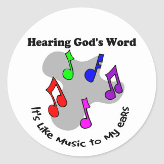 God's word is like music classic round sticker