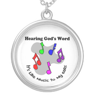 God's word is like music round pendant necklace