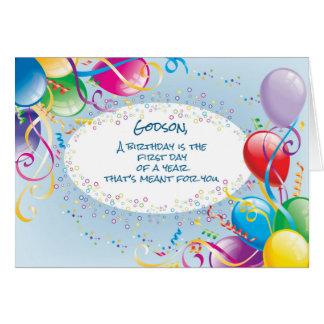 Godson Birthday Balloons Greeting Card