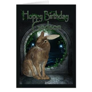 Godson Birthday Card - Hoppy Birthday With Rabbit