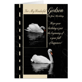 Godson Birthday Card Swans