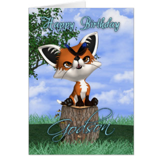 Godson Birthday Card With Cute Fox And Butterfly
