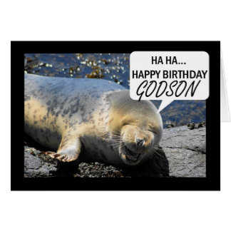 Godson Birthday card with laughing seal pup