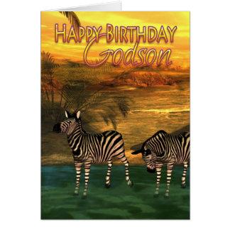 Godson Birthday Card Zebras In Water