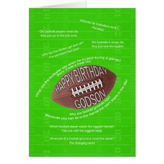 Godson birthday, really bad football jokes greeting card