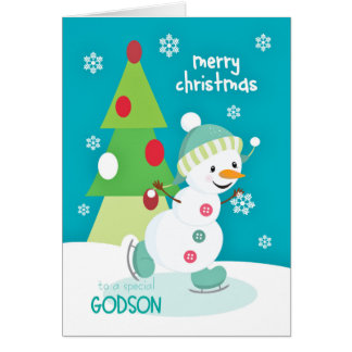 Godson Christmas Snowman Ice Skating Card