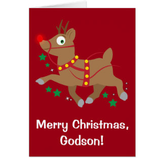 Godson Christmas with Red-Nosed Reindeer Card