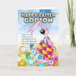 Godson easter gifts on zazzle godson easter card easter bunny flowers negle Gallery