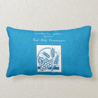 Godson First Communion, Wheat, Grapes Blue Lumbar Pillow