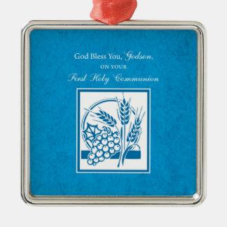 Godson First Communion, Wheat, Grapes Blue Metal Ornament