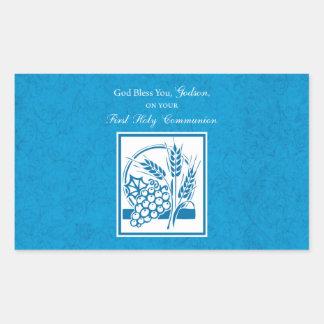 Godson First Communion, Wheat, Grapes Blue Rectangular Sticker
