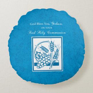 Godson First Communion, Wheat, Grapes Blue Round Pillow