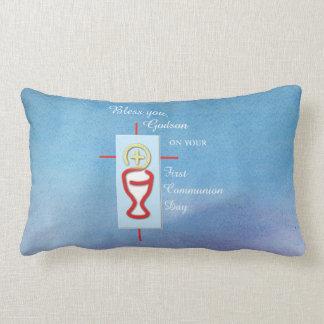 Godson, First Holy Communion, Blue Lumbar Pillow