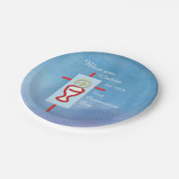 ... First Holy Communion Blue Paper Plate  sc 1 st  Zazzle & Catholic Sacrament Plates | Zazzle