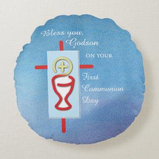Godson, First Holy Communion, Blue Round Pillow