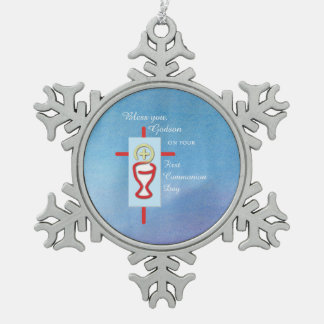 Godson, First Holy Communion, Blue Snowflake Pewter Christmas Ornament